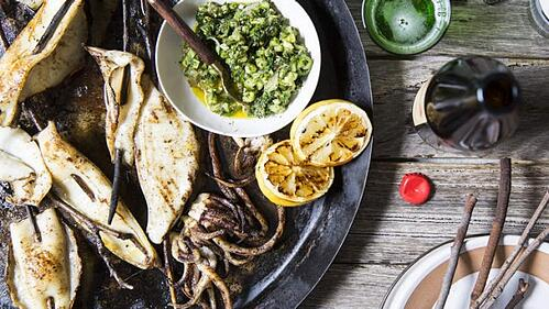 Barbecued calamari with a green tomato, herb and chilli salsa