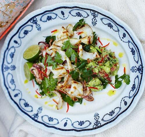 Chargrilled Squid With Rustic Guacamole Recipe | The Town Dock