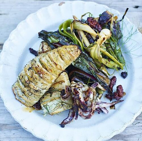 Roasted Concertina Squid With Grilled Leeks Warm Chorizo Dressing Recipe | The Town Dock