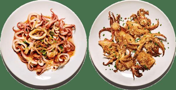 Scallions & Ginger Calamari Plate Deviled Broiled Calamari Plate | Tubes & Tentacles | The Town Dock