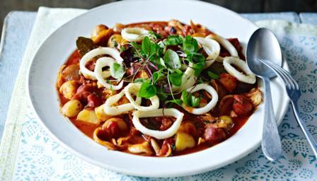 slow cooked squid chorizo stew   the town dock calamari