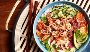 Calamari Kimchi Poke Bowl